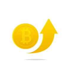 Bitcoin rising arrow icon vector