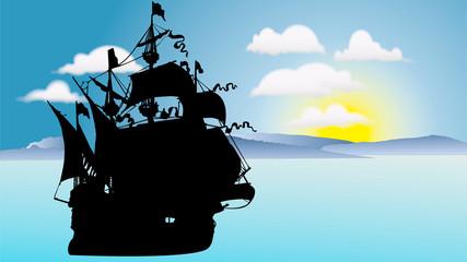 海賊船の出航のシルエット