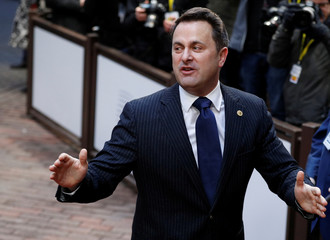 Luxembourg's Prime Minister Xavier Bettel gestures as he arrives for the second day of the European Union leaders summit in Brussels