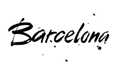 Barcelona. Ink hand lettering. Modern brush calligraphy. Handwritten phrase. Inspiration graphic design typography element.