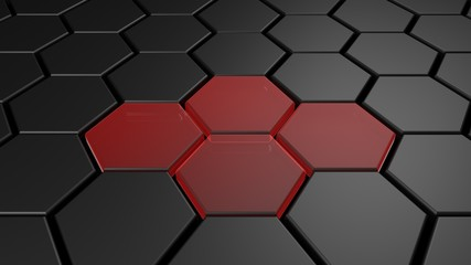 3d black and red hexagon background, 3d render.