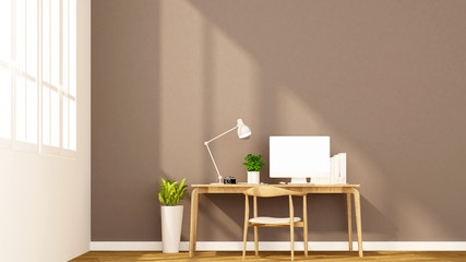 workplace and brown wall in apartment or home - Interior design for artwork - 3D Rendering