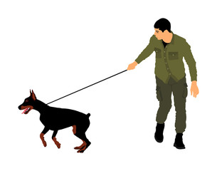 Owner keeps the Doberman pincher champion dog on the leash, vector illustration isolated. Dog show exhibition. Finder detects military explosives and drugs. Rescue activity dog for finding survive.