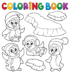Coloring book happy winter penguins