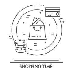 Shopping theme horizontal banner. Pictograms of bag, credit card, shop, delivery, cash, wallet, cart, sticker and other purchases related elements. Vector illustration.