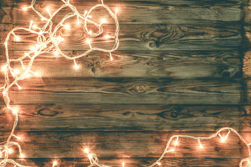 Christmas and new year dark brown wooden background decorated li