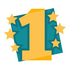 Number one emblem with stars and ribbons around big numeral isolated cartoon vector illustrations on white background.