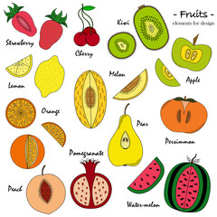 A set of hand-drawn cute fruit for design.