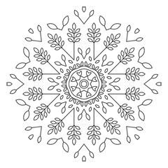 Leaves Mandala Shape for Coloring. Vector Mandala. Floral. Nature. Oriental. Book Page. Outline.