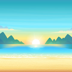 Evening beach at sunset with clean calm water, clouds and mountains on the horizon. Vector cartoon illustration.