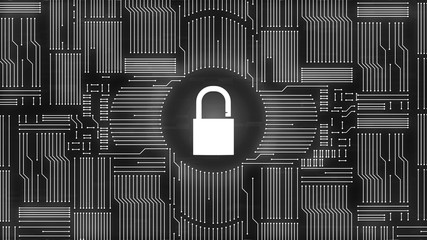 Monochrome padlock icon on computer circuit background symbolizing cyber attacks and hacking