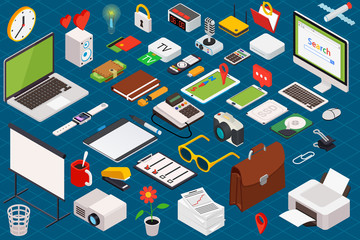 Big set of isometric volumetric of icons on a theme of computer technology and office equipment.