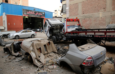 A general view of El Fauquier (The Poor), a crash damaged vehicles and second-hand car shop, is pictured in Cairo