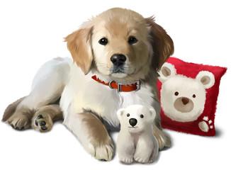 The puppy Golden Labrador and a toy polar bear