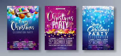 Vector Merry Christmas Party Flyer Illustration with Holiday Typography Elements and Multicolor Ornamental Balls, Cutout Paper Star, Light Garland on Shiny Background. Celebration Poster Design Set. Wall mural