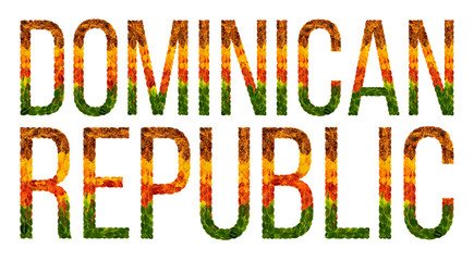 word dominican republic country is written with leaves on a white insulated background, a banner for printing, a creative developing country colored leaves dominican republic