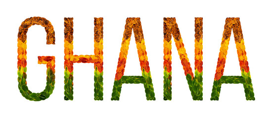 word Ghana country is written with leaves on a white insulated background, a banner for printing, a creative developing country colored leaves Ghana