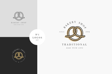 Vector design template and emblem - pretzel bake icon for bakery. Sweet shop.