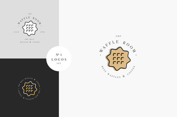 Vector design template and emblem - waffle icon for bake shop. Sweet shop.