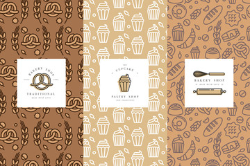 Vector set of design templates and elements for bakery packaging in trendy sketch linear style.