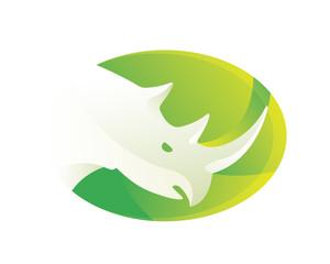 Modern Green Rhino Logo