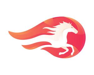 Modern Flaming Stallion Logo
