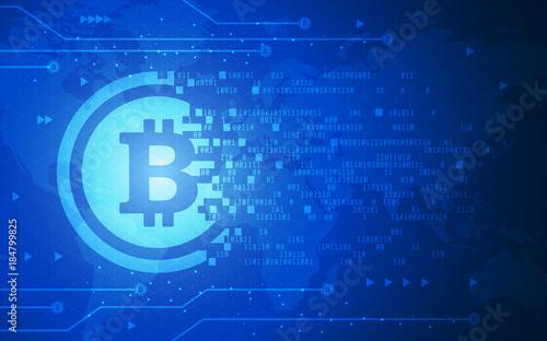 Global Abstract Bitcoin Crypto Currency Blockchain Technology World