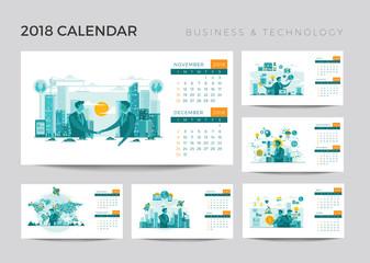 Modern 2018 Technology Yearly Desk Calendar Set Illustration Template