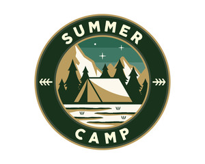 Vintage Wildlife Summer And Spring Camp Camping Activities Logo Badge Illustration
