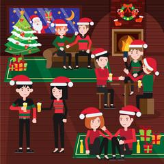 Happy Joyful Merry Chirstmas Eve Party Illustration