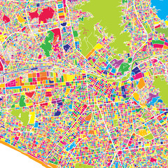 Lima, Lima District, Peru, colorful vector map