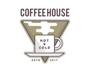 Vintage Premium Coffee Shop Badge Logo Illustration