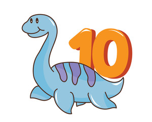 Colorful Cute Baby Plesiosaurus Dinosaur Illustration With Number, Suitable For Education, Birthday Invitation, Mascot, Event, Baby Clothing, and Other Children Related Occasion