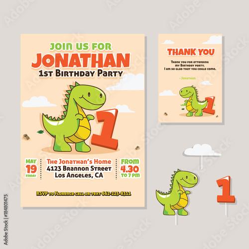 1St Birthday Dinosaur Invitations   Cute Dinosaur Theme 1st Birthday Party Invitation And Thank You Card