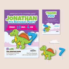 Cute Dinosaur Theme 7th Birthday Party Invitation And Thank You Card Illustration