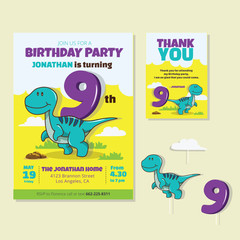 Cute Dinosaur Theme 9th Birthday Party Invitation And Thank You Card Illustration