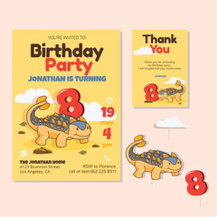 Cute Dinosaur Theme 8th Birthday Party Invitation And Thank You Card Illustration