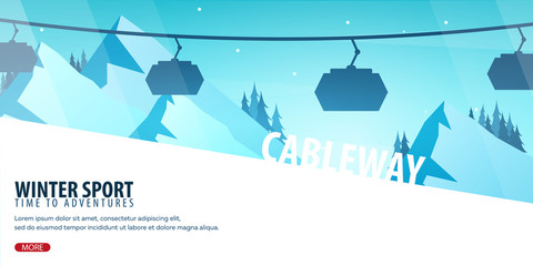 Winter Sport. Ski and Snowboard. Mountain landscape. Cableway. Vector illustration.