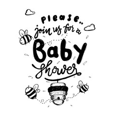 Cute Hand Drawing Bee Theme Baby Shower Invitation