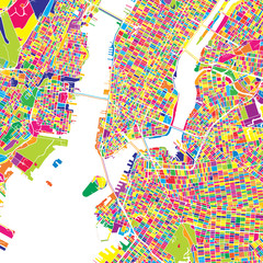 New York City, United States, colorful vector map