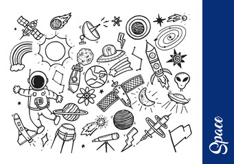 Creative Hand Drawing Space Theme Doodle Illustration