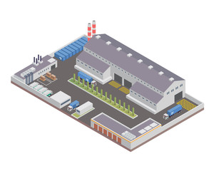 Modern Isometric Industrial Factory and Warehouse Logistic Building, Suitable for Diagrams, Infographics, Illustration, Game Assets, And Other Graphic Related Assets