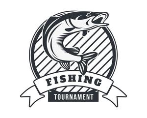 Modern Black And White Summer Fishing Logo Badge Illustration