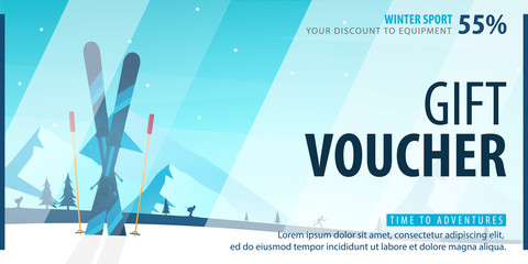 Gift voucher with diagonal lines and a place for the image. Universal flyer template for advertising winter sport.