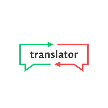 simple thin line translator logo