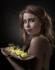 Beautiful woman with tequila.