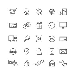 simple black thin line icons for ecommerce and shopping
