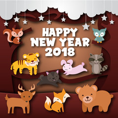 Cute Cheerful Forest Wild Animal Theme Happy New Year 2018 Paper Art Card Illustration, Suitable for Children Greeting Card, Party Invitation, And Social Media