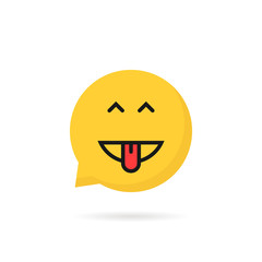 yellow simple excited emoji speech bubble logo
