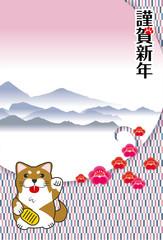 年賀状素材 縦型|招き犬(招き猫)と変わり市松模様の和風背景のデザイン|犬張子(柴犬)